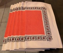 ATOMIC Mid Century 1960's Set Of 6 Abstract PINK Cloth Napkins Vintage - $29.50