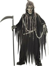 Boys Grim Reaper Skeleton Glow In Dark Gloves 5 Pc Halloween Costume-size 12/14 - $39.60