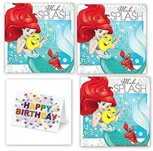 Little Mermaid Party PACK Birthday Napkins Cake Ariel Princess 48PC Plus CARD NW - $15.79