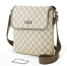 Authentic GUCCI Brown GG PVC Canvas and Leather Shoulder Bag Purse #33012 - $695.00