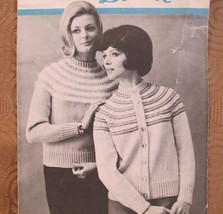 Vintage Caressa Beehive Knitting Patterns LADIES Cardigan Pullover Sweater  - $4.95