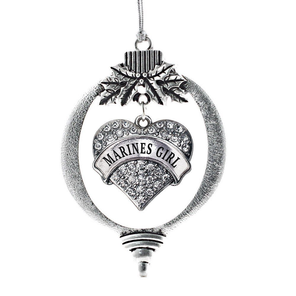 Primary image for Inspired Silver Marines Girl Pave Heart Holiday Christmas Tree Ornament With Cry