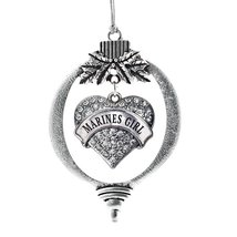 Inspired Silver Marines Girl Pave Heart Holiday Christmas Tree Ornament ... - $14.69