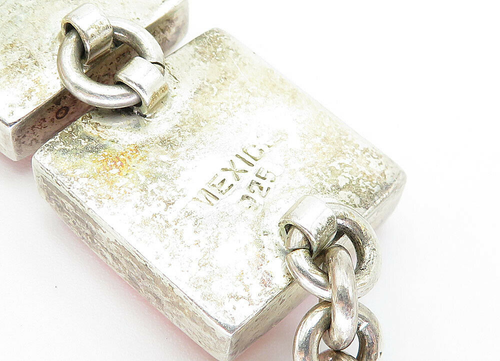 MEXICO 925 Silver - Vintage Rhodochrosite Square Link Chain Bracelet - B5952