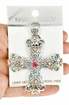 "2.75"" H Oversized Magnetic Patonce Cross Pendant Pastel Shades Rhinestones - $10.31"