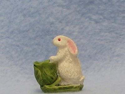 Dollhouse Rabbit w Basket green white  Easter 1:12 Bonnie Franklin Figurine