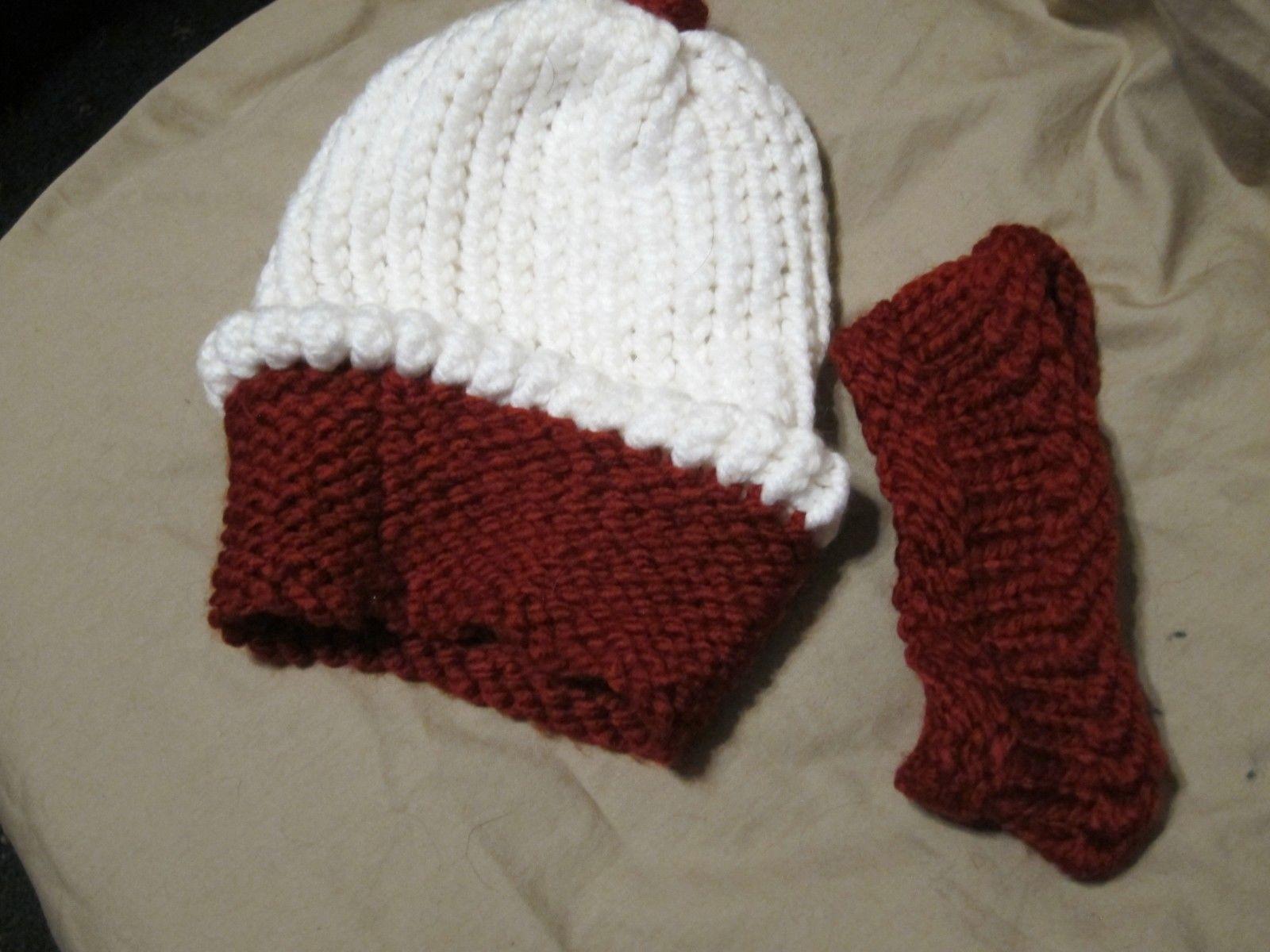 Handmade Knitted Cupcake & Headband Infant Winter Hat Cap CUTE