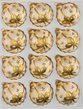 """12 pcs. Christmas Balls Set in """"Ice Champagne"""" Golden Bow - $19.99"""