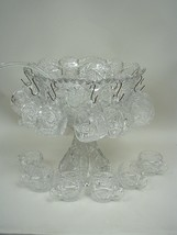 Glass Punch Bowl With 18 Cups - Whirling Star Pattern - Imperial Glass Co. - $116.88