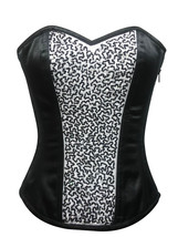 Black White Satin Handmade Sequins Goth Burlesque Waist Training Overbust Corset - $69.99
