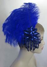 Custom Made Royal Blue Ostrich Feather Fascinator Headdress Hair Clip wi... - $37.99