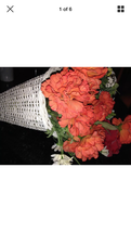 White cone Basket with silk flowers - $59.99