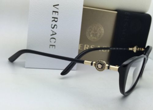 531232257fa0 New VERSACE Eyeglasses VE 3206 GB1 54-15 Black   Gold Frames w Clear