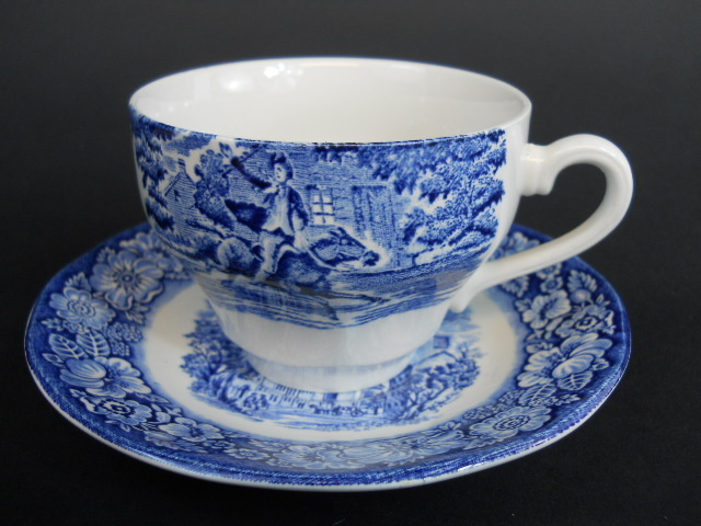 Liberty Blue English Staffordshire Blue White Paul Revere Coffee Cup and Saucer
