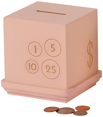 Tree by Kerri Lee Modern Cents Wooden Bank, Pink (Pink)