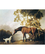 Bay horse and White Dog-Friends-painting by George Stubbs 11x14 Canvas P... - $23.99