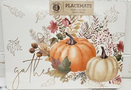 "SET OF 4 PLACEMATS W/CORK BACK (12"" x 16"") FALL, GATHER, LEAVES & PUMPKI... - $24.74"