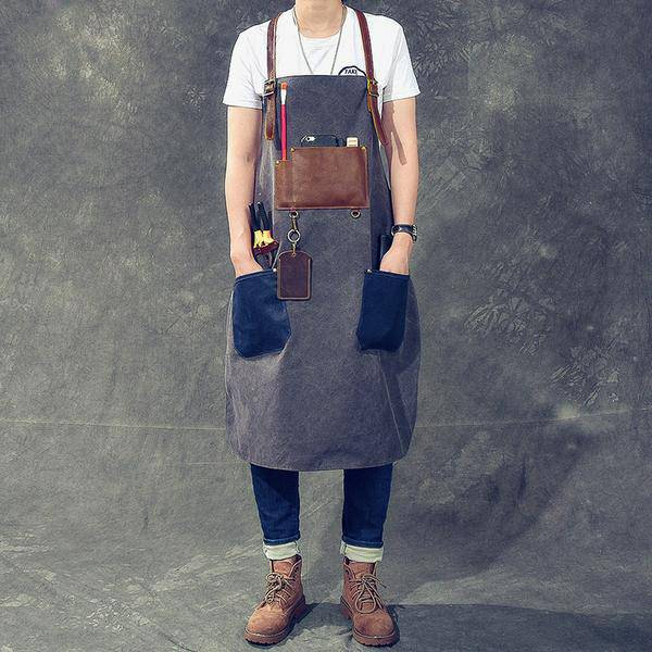 On Sale, HandMade Apron, Canvas With Leather Apron, HandCrafted Apron