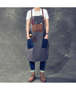 On Sale, HandMade Apron, Canvas With Leather Apron, HandCrafted Apron - $120.00