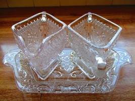 Vintage 'Tiara' Sandwich Glass Sugar & Creamer With Tray - $16.82