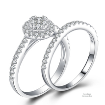 Cluster Halo Scallop 925 Sterling Silver Cubic Zirconia Engagement Ring Set - $51.92