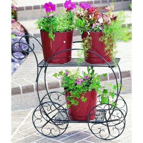 Tiered Garden Cart Vintage Planter Pot Flower Container Garden Lawn Patio Decor