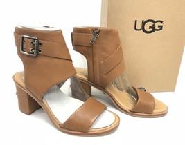 UGG Australia Claudette Leather Heeled Sandals in Almond Side Buckle 1090433 - $79.99