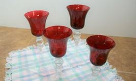 Set of 4 Stair Step Ruby Red Candle Holders  - $12.50