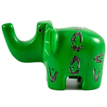 SMOLArt Hand Carved Soapstone Green Elephant Figurine Made in Kenya - $13.85