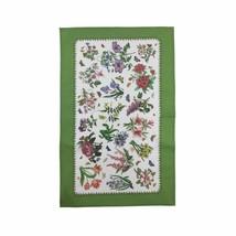 2x Floral Fleurs Papillons Blanc Vert Bordé 100% Cotton Torchon 45x74cm - $15.82