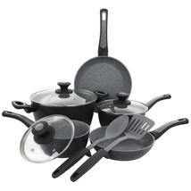 Oster 10 Piece Non-Stick Aluminum Cookware Set in Black and Grey Speckle - $109.08