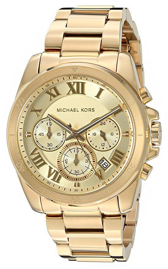 Primary image for NEW Michael Kors Brecken Gold Tone Gold Dial MK6366 Chronograph Mens Watch