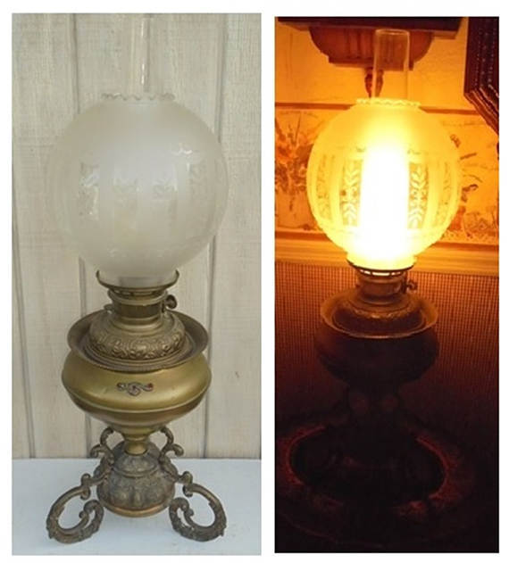 FREE SHIPPING! Ornate Victorian Bradley & Hubbard Ruby Stones Parlor Lamp c.1888