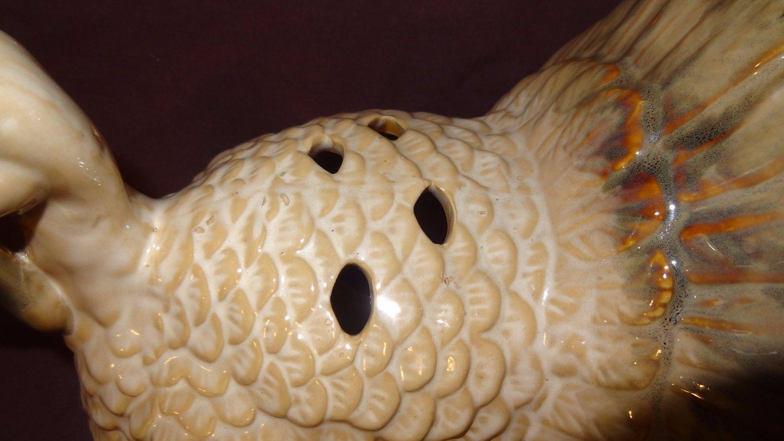 "Turkey Thanksgiving Tea Light Candle Holder 7"" Table Top Centerpiece Cream Color image 10"