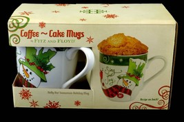 Fitz & Floyd 2013 Holly Hat Snowman Holiday Coffee Cake Pair of Christma... - $29.95