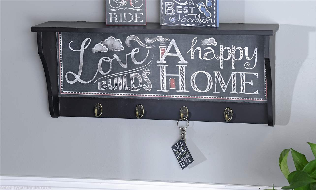 "23"" MDF Wall Hook Shelf w Chalkboard Inspired Motif Vintage Typography Sentiment"