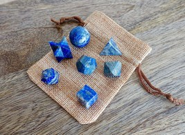 7 Pcs Set Lapis Lazuli Stone Sacred Geometry Natural Gemstone Rock Reiki... - $24.92