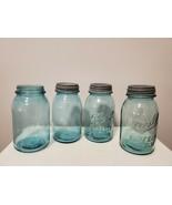 Four (4) Vintage Ball Perfect Mason Aqua Blue Quart Canning Jars with 3 ... - $32.68