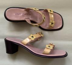 Louis Vuitton Vernis Peachy Pink Flower Mule Chunky Block Heel Sandal Size 38 - $149.60