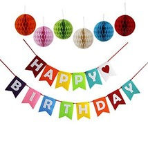 Threemart Happy Birthday Decoration Banner With Colorful Tissue Pom Pom ... - £10.17 GBP