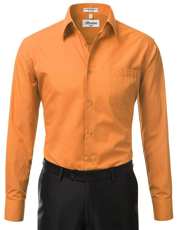 Berlioni Italy Men Orange Classic French Convertible Cuff Solid Dress Shirt - XL