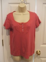 NWT $ 35 CHARTER CLUB rose 100% cotton short sleeve top size small - $12.61