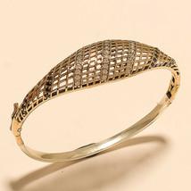 White Topaz Black Spinal Filigree Bangle Bracelet 925 Sterling Silver Je... - $22.62