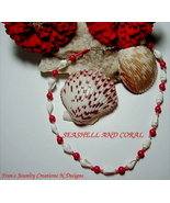 "SEASHELL AND CORAL NECKLACE - 15 1/4"" - $10.50"