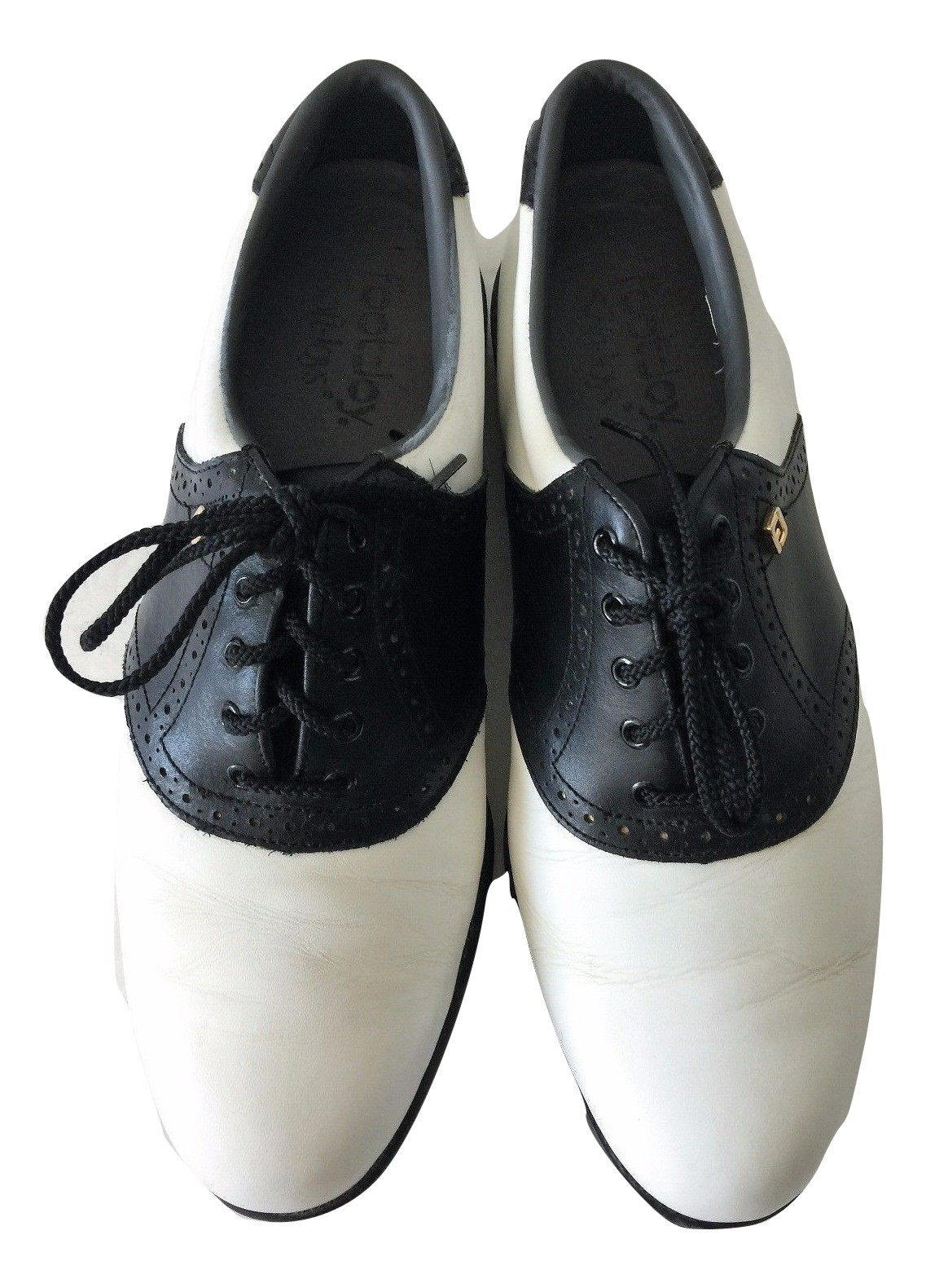 Footjoy Soft Joys Mens Black and White Saddle Leather Spikeless Golf Shoes  9.5 e92708ce2d8