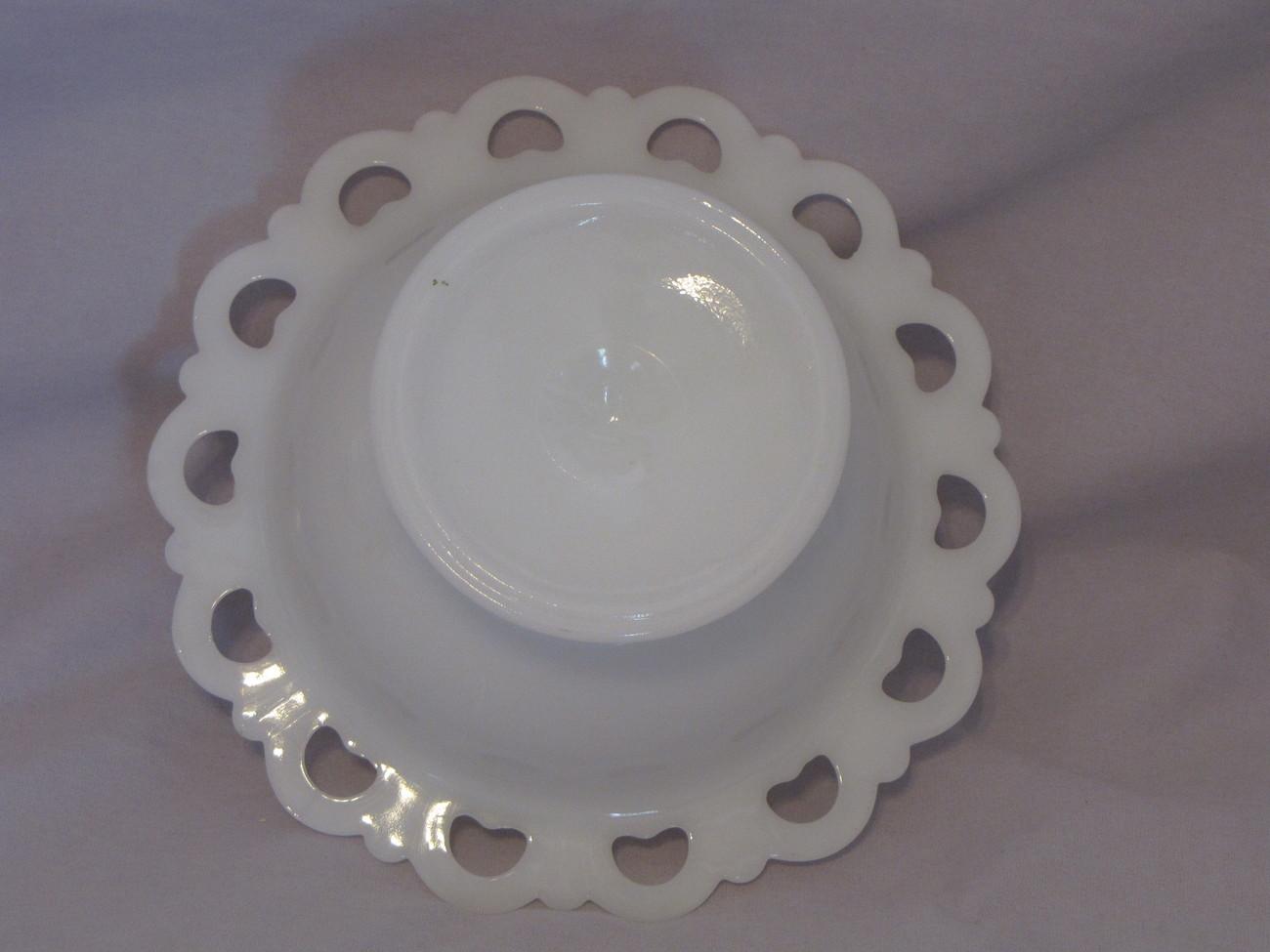 White Milk Glass Compote/Candy Dish/Planter