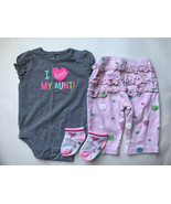 """Girl's Size 6M 3-6 Months Two Piece Gray """"I Love My Aunt"""" Top, Gymboree ... - $15.00"""