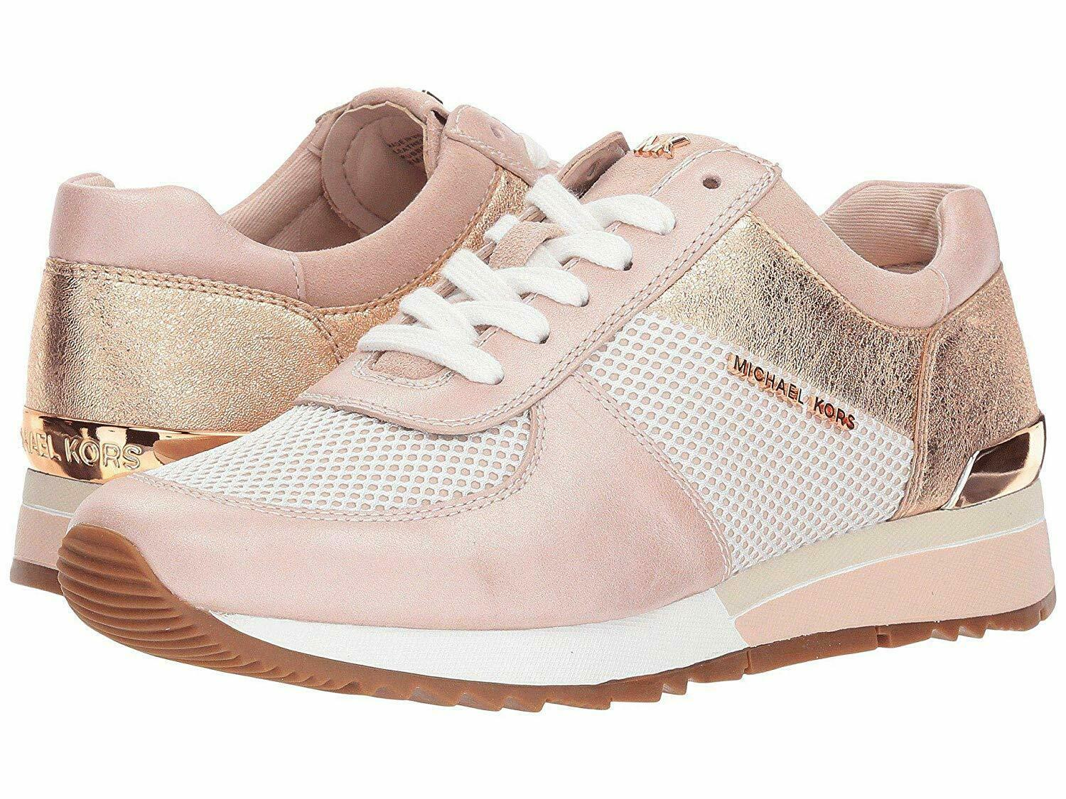Michael Kors MK Women's Allie Trainer Leather Sneakers Shoes Soft Pink