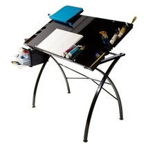 Martin Universal 23.5x35.5in. Glass Top Dezign Line Drawing Table and Wo... - $259.79