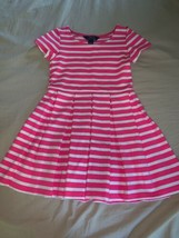 Size Small 7 Ralph Lauren Polo Pink White Striped Pleated Above Knee Dre... - $24.00